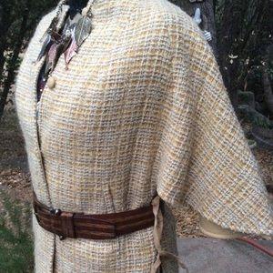 Vintage Unique Cape Coat Gold Tweed Suede